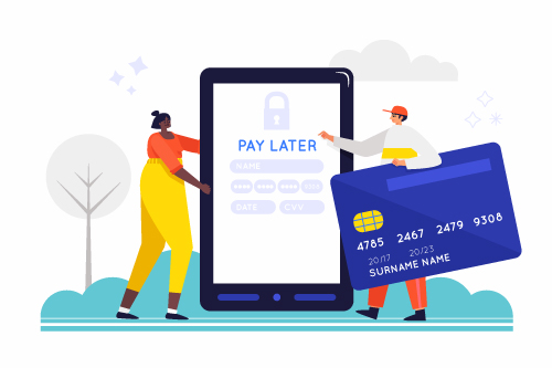 See the pay later service partner as a credit card company.